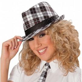 Chapeau borsalino écossais noir blanc gris adulte