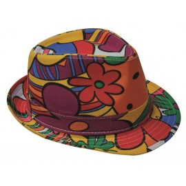 Chapeau borsalino flower power adulte