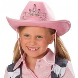 Chapeau cowboy rose fille