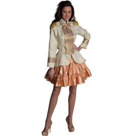 Déguisement jupe courte or à volants satin femme
