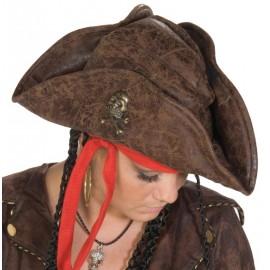Chapeau pirate brun adulte