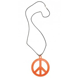 Collier hippie orange adulte