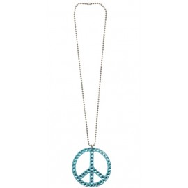 Collier hippie bleu avec strass adulte
