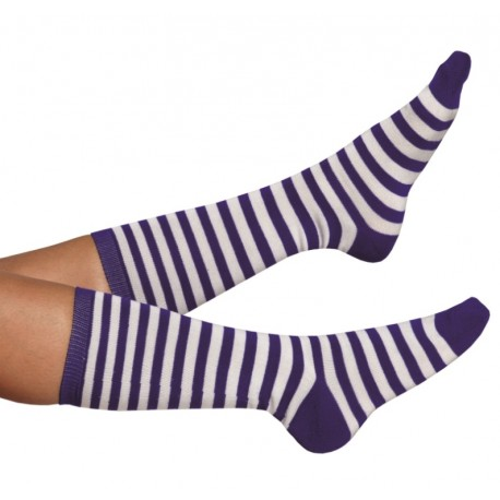 Chaussettes à rayures bleues et blanches adulte