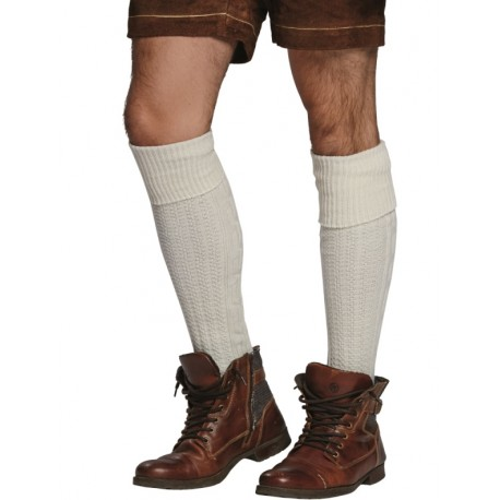 Chaussettes tyroliennes blanches longues homme