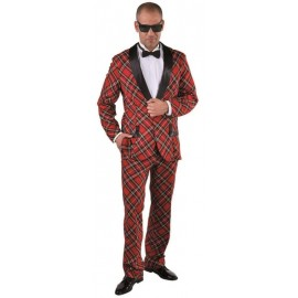 Déguisement smoking écossais rouge homme luxe