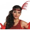 Bandeau charleston rouge femme avec plumes et sequin