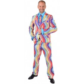 Déguisement costume hippie rainbow waves homme luxe