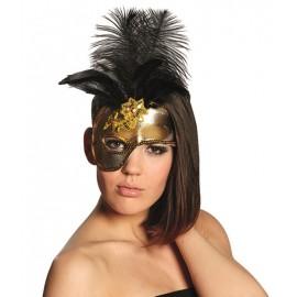 Demi masque baroque or femme avec plumes noires