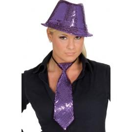 Cravate à paillettes violette adulte