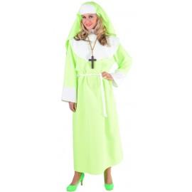 Déguisement nonne fluo vert femme luxe