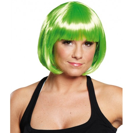 Perruque courte fluo vert femme : achat de