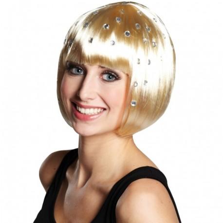 Perruque blonde courte à strass femme