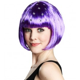 Perruque courte violette à strass femme
