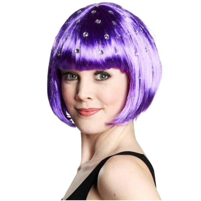 Perruque courte violette à strass femme :