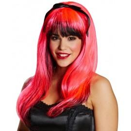Perruque longue rose et noire femme