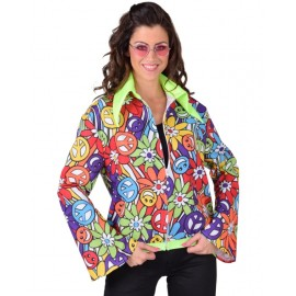 Déguisement veste hippie smile femme luxe