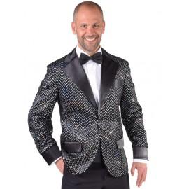Déguisement veste noire à paillettes homme luxe
