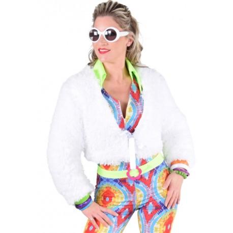 Déguisement boléro blanc fausse fourrure femme luxe