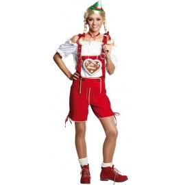 Déguisement pantalon tyrolien rouge femme