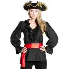 Déguisement chemise pirate noire femme