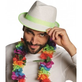 Chapeau borsalino blanc bande fluo vert adulte
