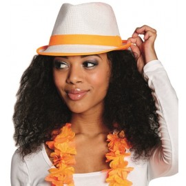 Chapeau borsalino blanc bande fluo orange adulte