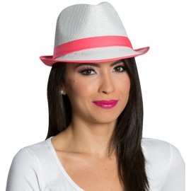 Chapeau borsalino blanc bande fluo rose adulte