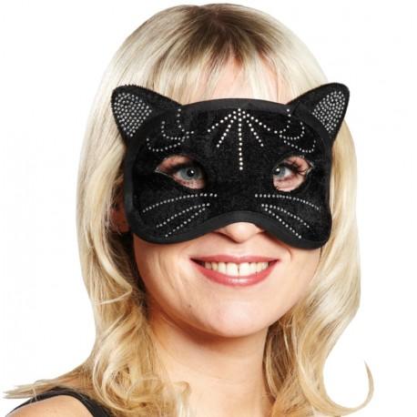 Masque chat noir à strass femme