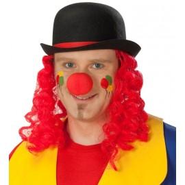 Chapeau melon clown avec cheveux adulte