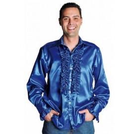 Déguisement chemise disco bleu cobalt homme luxe