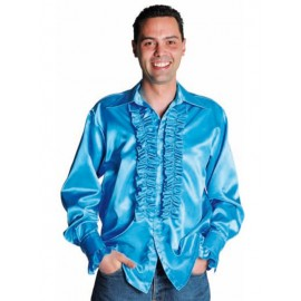 Déguisement chemise disco turquoise homme luxe