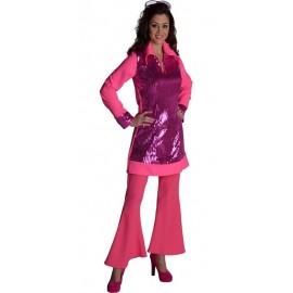 Déguisement pantalon disco rose femme