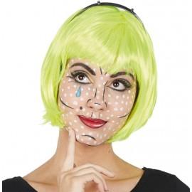 Perruque courte fluo jaune femme