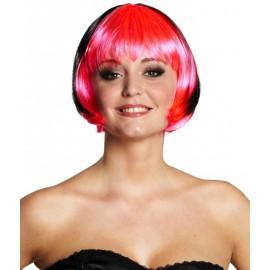 Perruque courte rose et noire femme