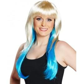 Perruque blond platine et bleue femme
