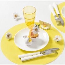 Sets de table ronds jaunes en intissé 34 cm les 50
