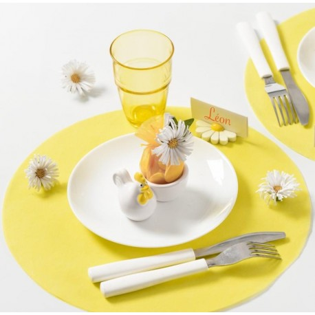 Set de table rond jaune en intissé 34 cm les 50