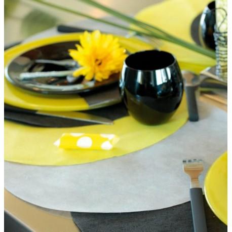 Set de table rond gris en intissé 34 cm les 50
