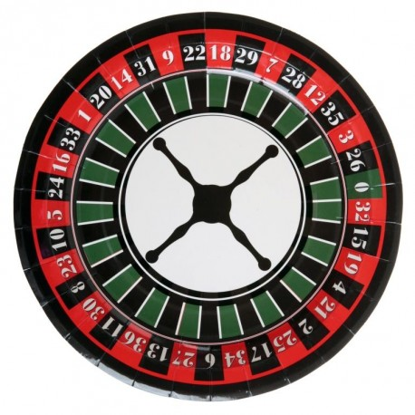 Assiette carton casino 22.5 cm les 10