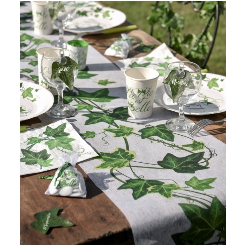 Chemin de table lierre intiss 5 m - Set de table intisse ...
