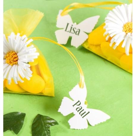 Etiquette papillon blanc les 10