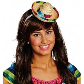 Mini chapeau mexicain Sombrero en paille femme