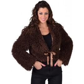 Déguisement boléro brun fausse fourrure femme luxe