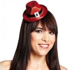 Mini chapeau borsalino à sequins rouge femme