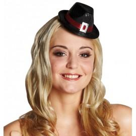 Mini chapeau borsalino à sequins noir femme