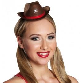 Mini chapeau cowboy brun femme