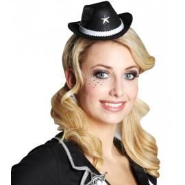 Mini chapeau cowboy noir femme