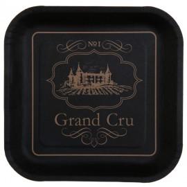 Assiette carton viticole noire 22.5 cm les 10