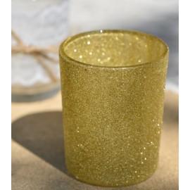 Photophore pailleté or en verre les 12